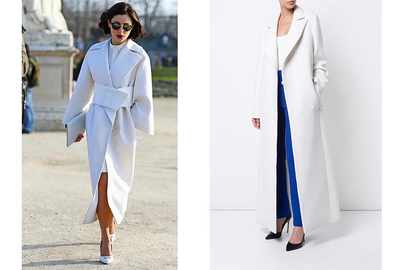 Белое пальто макси сезона 2021